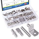 Glarks 120-Pieces 4 Styles Shelf Bracket Pegs Cabinet Furniture Shelf Pins Support Nickel Plated - Silver