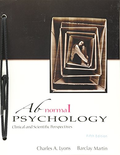 Abnormal Psychology Clinical and Scientific Perspectives 5th Ed