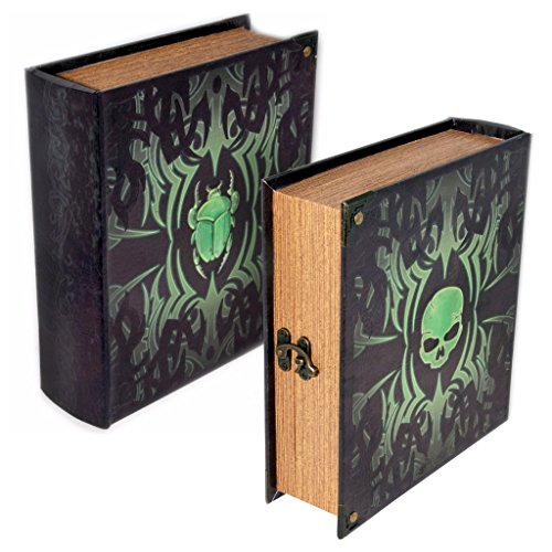 Grimoire Deck Box, Deathrite | Large Wooden Spellbook Style Fabric Lined Deck or Cube Box for MTG, Yugioh, and Other TCG | 1000+ Card Capacity by Wizardry Foundry