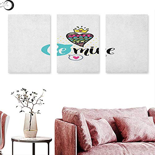 J Chief Sky Romantic Poster Prints Colorful Patterned Heart Shape with a Crown Creative Typography Phrase Be Mine Wall Panel Art Multicolor W 24