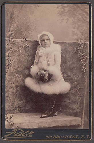 Young girl in fur & highbutton shoes cabinet by Falk NYC ca (1880s Cabinet)