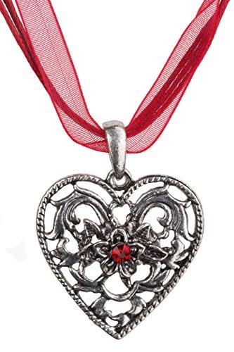 Trachtenkette Herz-Barock mit grossem Herz Strass und Edelweiss - Trachtenschmuck Anhänger Kette für Dirndl, Lederhose und Oktoberfest viele Farben (Rot)