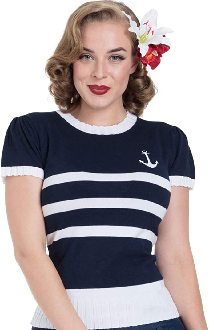 1940s Blouses and Tops Voodoo Vixen Womens Anchor Strip Sweater Navy/White $43.95 AT vintagedancer.com