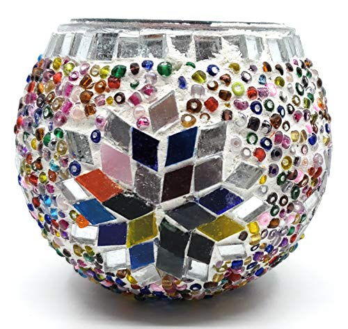 Handmade Traditional Turkish Mosaic Glass and Bead Candle Holder Large (Multi 2) ()