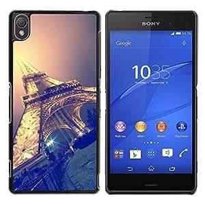 Torre Eifel Cielo Nocturno París Francia- Metal de aluminio y de plástico duro Caja del teléfono - Negro - Sony Xperia Z3
