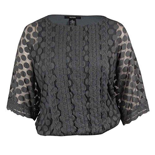 Alfani Women's Lace-Trim Polka Dot Mesh Blouson Top (1X, Neo Grey)