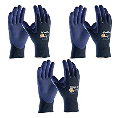 3 Pack MaxiFlex® EliteTM 34-274 Ultra Light Weight Glove with Nitrile Coated Grip on Palm & Fingers, Sizes S-XL