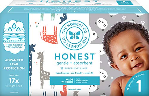 - The Honest Company Club Box Diapers with TrueAbsorb Technology, Pandas & Safari, Size 1, 80 Count