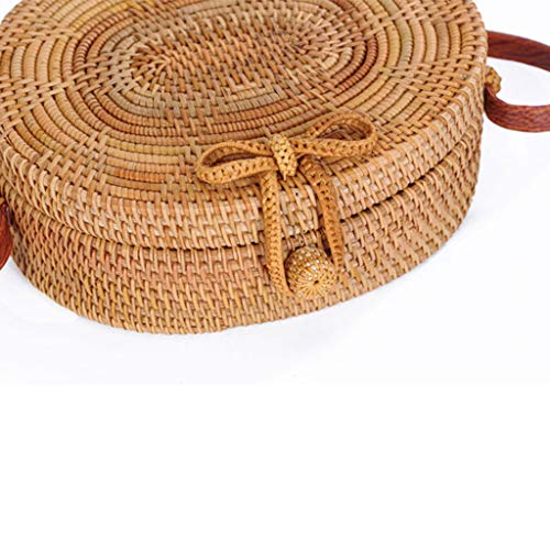 Women's Bag, Rattan Bag - Single Side - Sun Flower - Oval - Crossbody - Beach Bag Floral Lining - Hand-Woven Bag by BHM (Image #4)