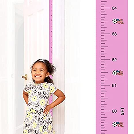 Award-Winning Mom Approved Peekaboo Growth Charts (Girls Soccer Growth Chart) Fits in Door Jamb, Removable, Self-Adhesive [72 x 1.25 inches] Mom Approved®