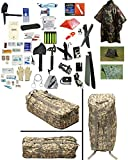 2 Person Supply 3 Day Emergency Bug Out SOS Food Rations, Drinking Water, LifeStraw Personal Filter, First Aid Kit, Tent, Blanket, ACU Duffel Bag, Camo Poncho + Essential 21 Piece Survival Gear Set