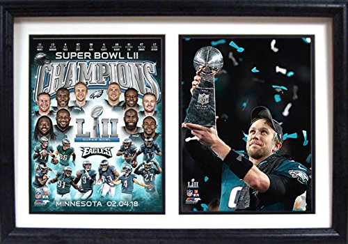 Superbowl Champions Eagles LII World Champions 12x18 Double Framed Photos-By Encore Select
