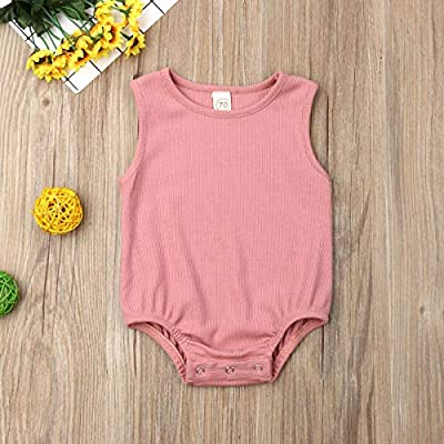 Newborn Infant Baby Girl Solid Color Romper Bodysuit Jumpsuit Sunsuit Clothes