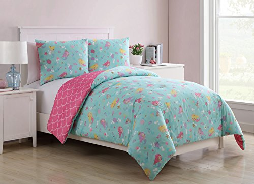 Mermaid Design , All Season Luxurious Microfiber in Multicolor ; 2 pc Set Includes Reversible Comforter , 1 Pillow Sham (Mermaid Set)
