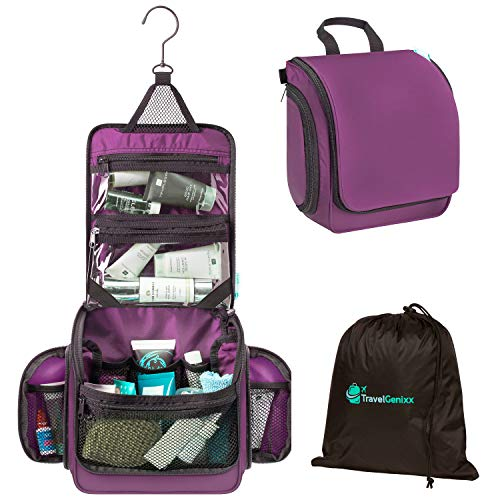 Toiletry Bag Hanging for Travel | Transparent TSA compliant Zipper Bag & Resistant Drawstring Bag Included (Purple)