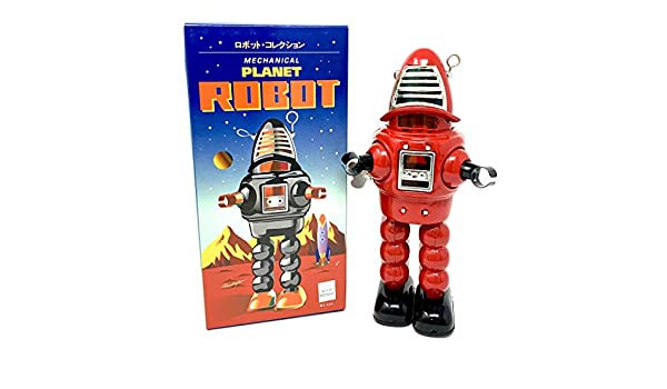 Off the Wall Toys Vintage Style Collectible Wind Up Red Planet Robot Wind Up 8.5 MS430