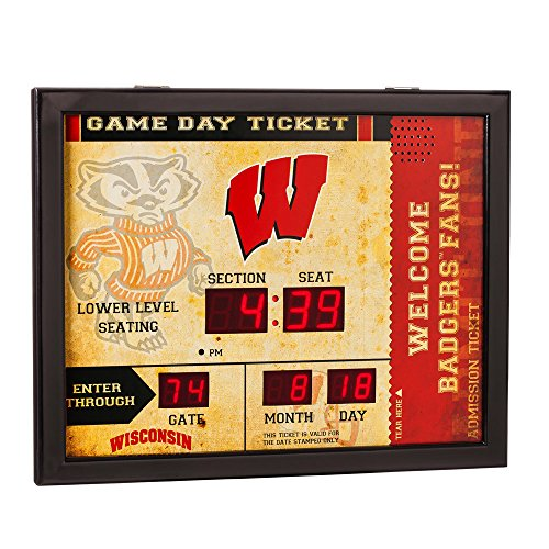 Wisconsin Badgers Clock Wall - Team Sports America NCAA Bluetooth Scoreboard Wall Clock, Wisconsin-Madison Badgers