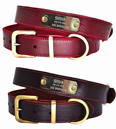 W&Z Premium Custom Personalized Genuine Leather Dog Collars with ID Name Plate, Dog Collar with Engraved Name and Phone Number, Durable Soft Dog Collars for Small Medium Large X-Large Dogs-Wine Red,S