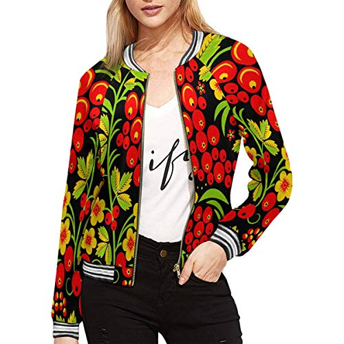 INTERESTPRINT Women's Traditional Russian Hohloma Style Zip Up Baseball Jacket Long Sleeves Short Blazer Outfit -