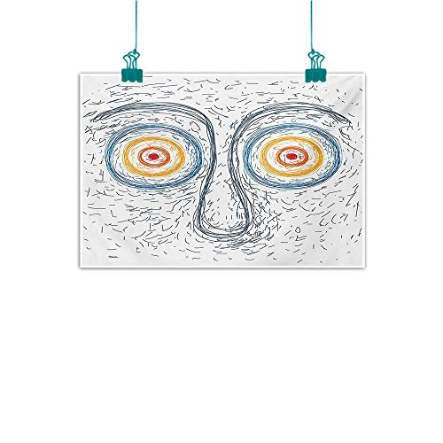 (Warm Family Psychedelic Modern Frameless Painting Confused Man Portrait Human Face with Large Hypnotic Eyes Trance Hand Drawn Bedroom Bedside Painting 20