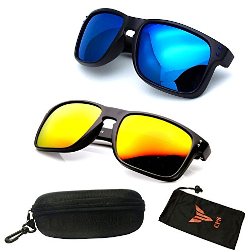 (#MD3033-POL Yel/Blu) 2 Pairs POLARIZED LENSES Flat Large Sport Casual Driving Outdoor Mens - Sunglasses Holbrook