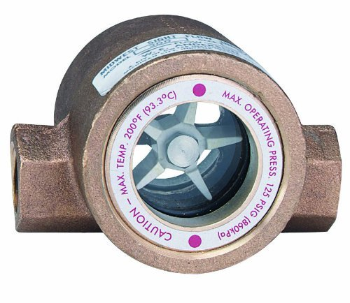 Dwyer MIDWEST Series SFI-300 Sight Flow Indicator, Double Window, Bronze Body, ABS Impeller, 3/4'' Female NPT Connections, 4.063'' Length x 2.750'' Depth x 2.563'' Height