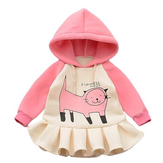 ASHOP Vestidos niña/ Vestido con Capucha y Estampado de Gato de ...