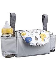 Lelesta Barnvagn Arrangör Stor Kapacitet Buggy Organisatör Barnvagn Väska med 2 Flaskhållare Hängande Sittvagn Arrangör Baby Tillbehör Passar Alla Buggy Modeller