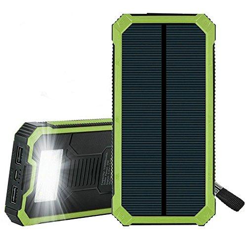 15ooo mAh Solar Power Bank, Solar Ladegerät mit Dual USB Schnittstelle, Externe Akku für iPhone, Android-Handys, andere Smartphones sowie elektronische Geräte und auch iPad oder andere Tablet PC (grün)