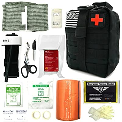 Everlit Emergency Survival Trauma Kit, Military Combat Tactical IFAK for First Aid Response, Critical Wounds, Gun Shots, Blow Out, Severe Bleeding Control and More by EVERLIT