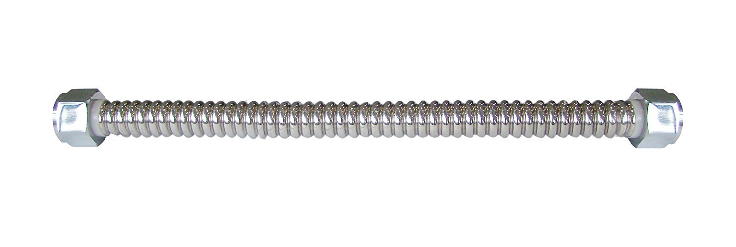 Maximized Corrosion Resistance /& Performance Flextron FTWC-S34-15A 15 Inch Lead Free Corrugated Stainless Steel Tube Connector for Water Heater With 3//4 Inch FIP /& 3//4 Inch FIP Ends