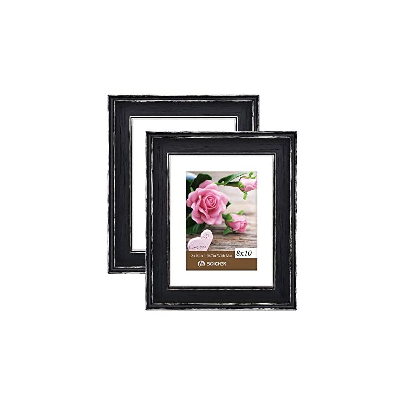 BOICHEN Picture Frames 8x10 in Black - Rustic Distressed Solid Wood with Real Glass - Wall or Tabletop Display Pictures…