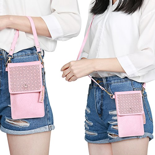 seOSTO Small Crossbody Bag, Cell Phone Purse Smartphone Wallet with 2 Shoulder Strap Handbag for Women (pink) by seOSTO (Image #7)