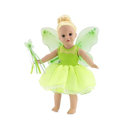 4551387a1 18 Inch Doll Clothes | Magical Tinker Bell Inspired Fairy Princess Doll  Halloween Costume with Jeweled