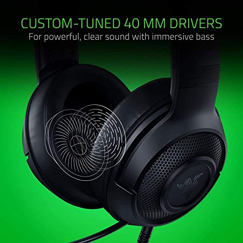Razer Kraken X Ultralight Gaming Headset: 7.1 Surround Sound Capable - Lightweight Frame - Bendable Cardioid Microphone - For PC, Xbox, PS4, Nintendo Switch - Black (Renewed)