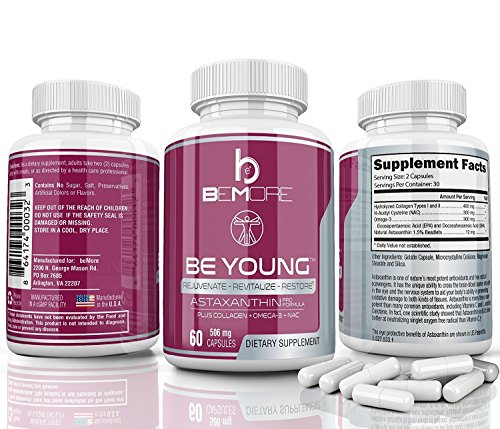 Astaxanthin PRO, Astaxanthin Pills Rejuvenate & Revitalize Your Body The ONLY Astaxanthin Supplement with Type-II Collagen Krill Oil Omega-3 & NAC for Anti-Oxidant Anti-Inflammation Power 60 Capsules by BE+ (Image #3)