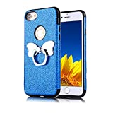 Funyye Bling Glitter Sparkle Rubber Case for iPhone 7 Plus,Luxury 360 Degree Rotating Grip Butterfly Ring Stand Holder Anti-Scratch Ultra Thin Soft Silicone TPU Durable Case for iPhone 7 Plus/8 Plus 5.5 inch + 1 x Free Screen Protector,Blue