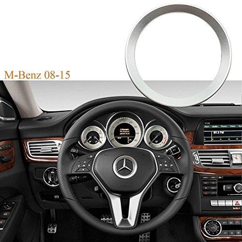 Sports Glossy Car 3D Steering Wheel Center Logo Ring Trim For Mercedes Benz B C GLK [Silver] (Mercedes Benz Truck Center)
