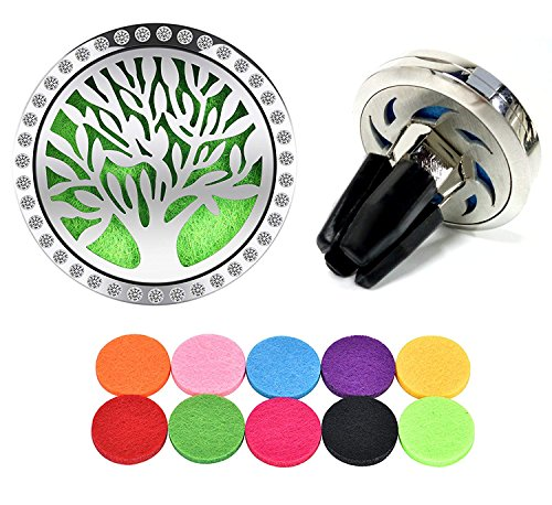 (Essential Oil Diffuser Vent Clip with 10 Refill Pads,Horsky Car Air Vent Aromatherapy Fragrance Perfume Air Freshener Locket with Glass Diamonds 4 Stainless Steel Feet-Tree of Life (Tree of Life) )