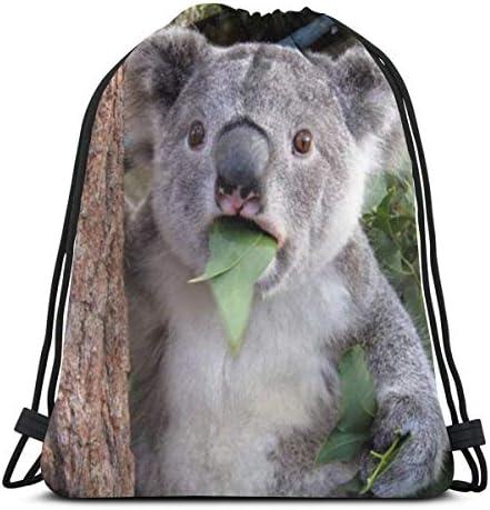 コアラ食べる葉防水巾着バッグジムバッグスポーツバックパック男性女性女の子36 x 43 cm
