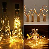 Iulove 12Pcs Cork Shaped LED Night Light Starry Light Wine Bottle Lamp for Party Decor (Yellow)