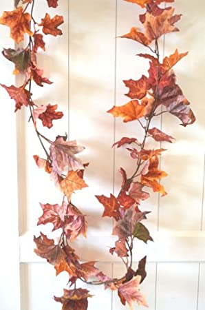 Amazon De Herbstgirlande Herbstblatter Laub Rot Orange Braun