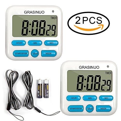 2 Pack Upgrade Digital Kitchen Timer By GRASINUO, Cooking Timers Clock, Memory Function, 24-Hour Display Clock, Big Digits Loud Alarm Magnetic Backing Stand with Large LCD Display(Battery (Digit Timer)