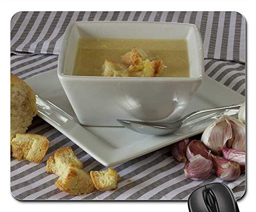 Mouse Pad - Soup Bread Dinner Garlic White Organic Healthy
