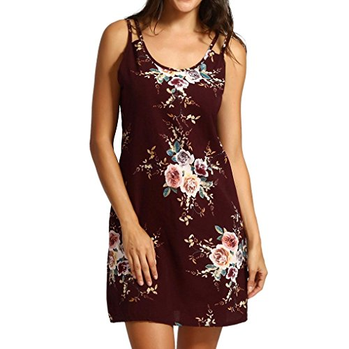 Mini Dresses, FORUU Womens Floral Printed Sleeveless Cocktail Casual Party Sexy