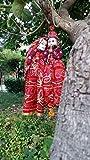 Crafticia Rajasthani Ethnic Wooden Puppet Dolls Pair Face String Kathputli