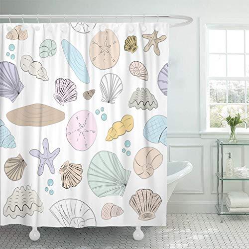 Emvency Fabric Shower Curtain with Hooks Blue Wedding Pastel Shell Dollar Summer Sand Beach Seaside Clam Starfish 60
