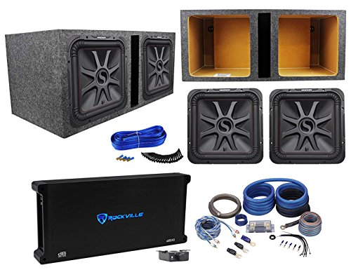 (2) KICKER 45L7R152 15″ 3600w L7R Car Subwoofers+Vented Box+Amplifier+Amp Kit