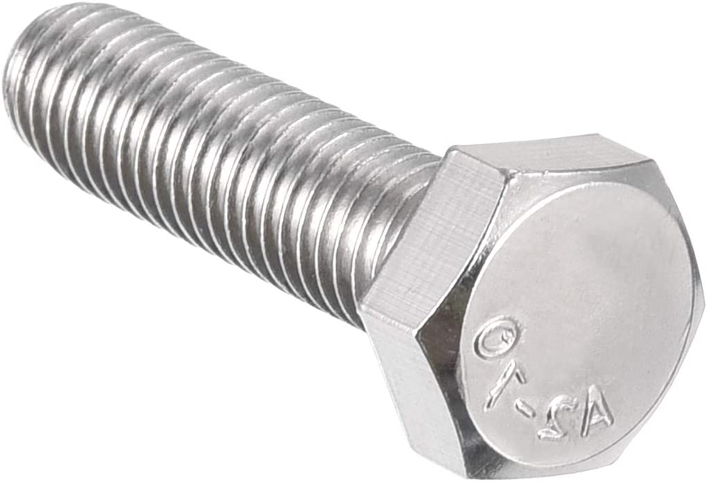 Sourcing Map M12 rosca 50 mm 304 acero inoxidable cabeza hexagonal mano izquierda tornillo tornillo tornillo tornillos