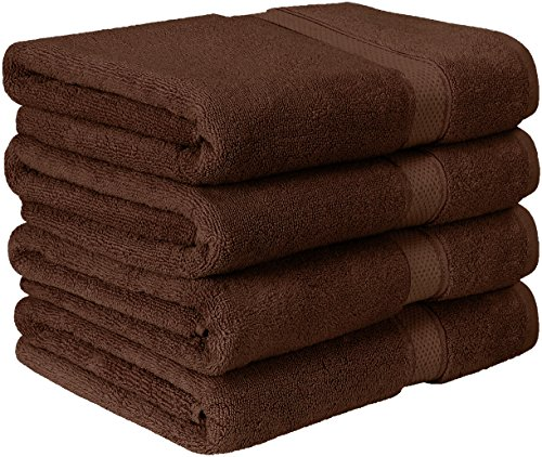 Utopia Towels Premium Bath Towel Set (Pack of 4, 27 x 54) 100% Ring-Spun Cotton Towels for Hotel and Spa, Maximum Softness and Highly Absorbent by (Dark Brown)